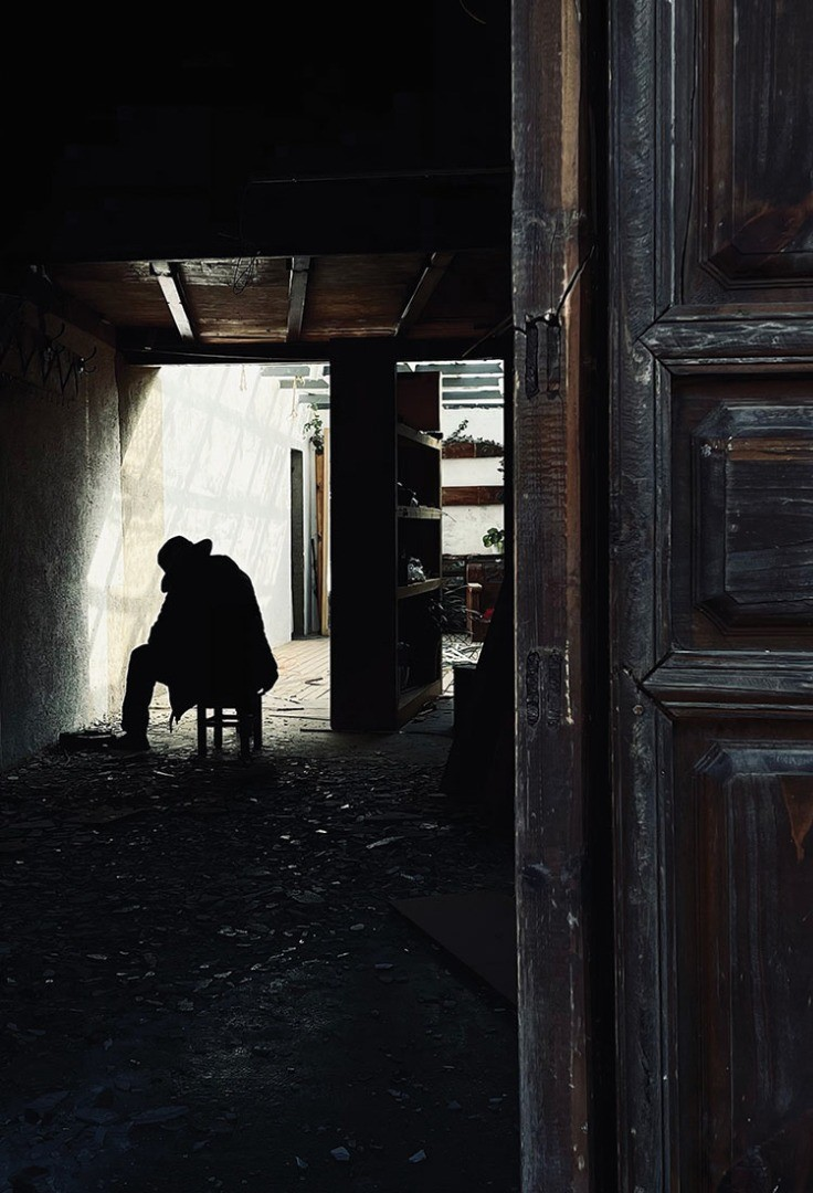 a person standing in a doorway