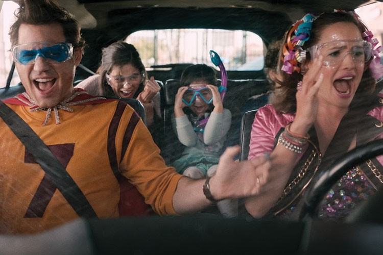 a group of people in a car