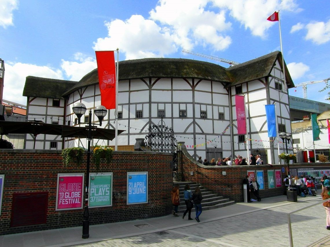 Globe Theatre with flags on the roof