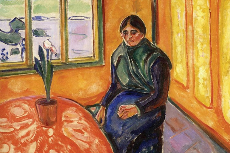 a painting of a person sitting on a chair