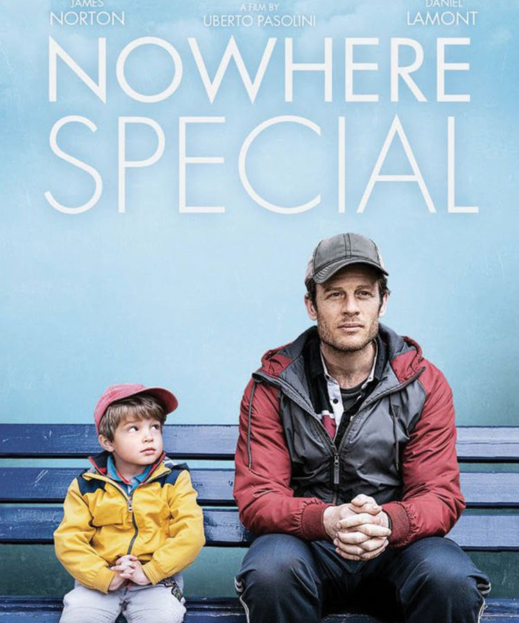 James Norton and a child sitting on a bench