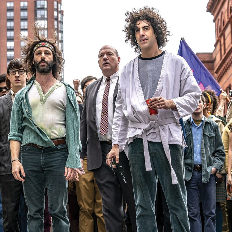 Sacha Baron Cohen, Jeremy Strong, John Carroll Lynch, Alex Sharp are posing for a picture