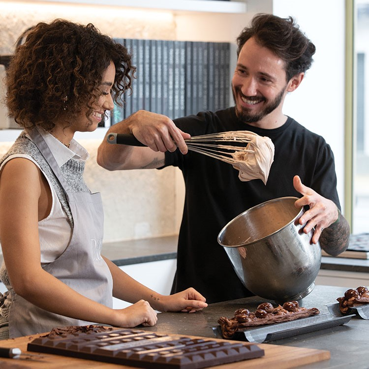 Cédric Grolet and woman cooking