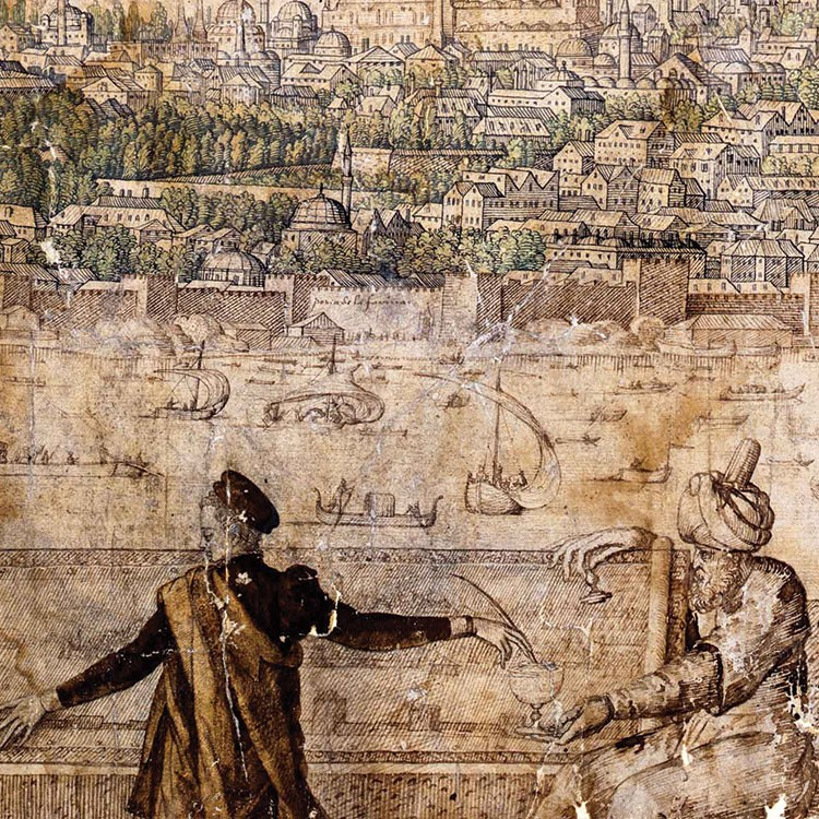 a person standing in front of a wall with carvings
