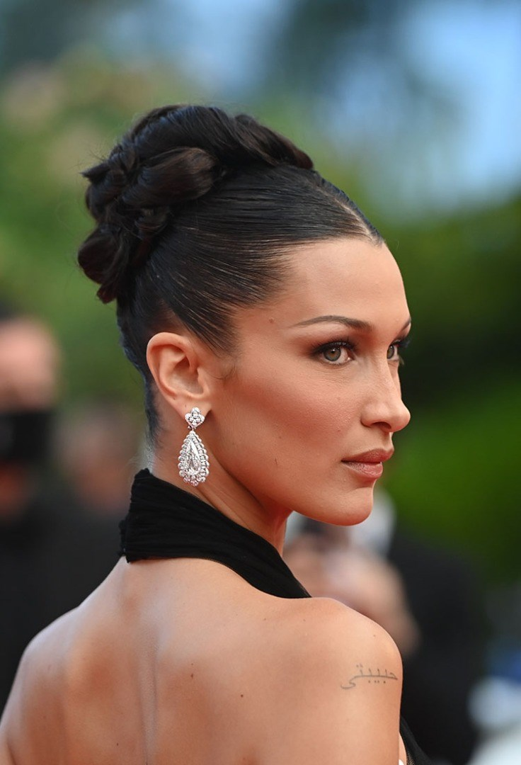 Bella Hadid with a ponytail