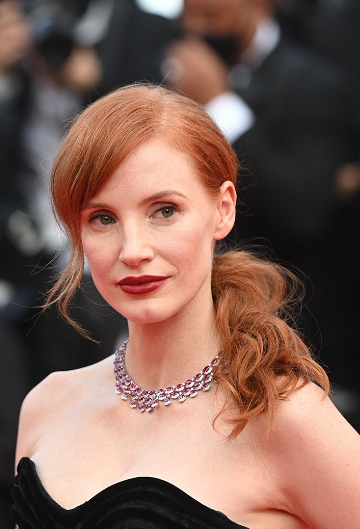 Jessica Chastain with a necklace