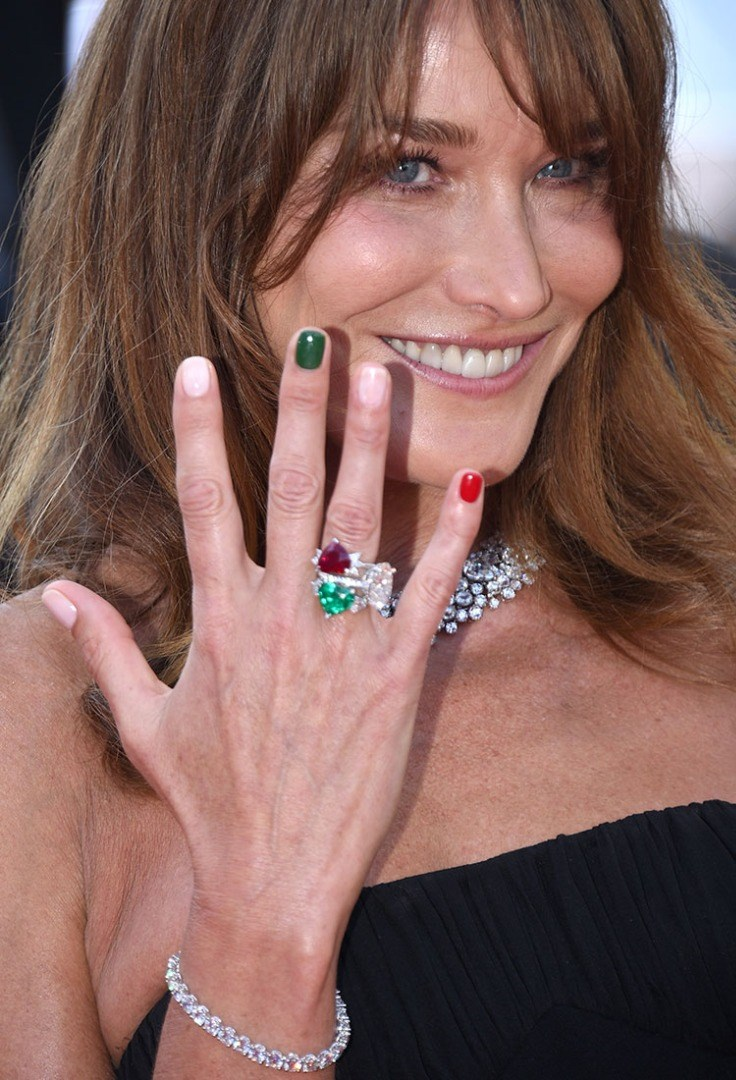 Carla Bruni holding her hand up