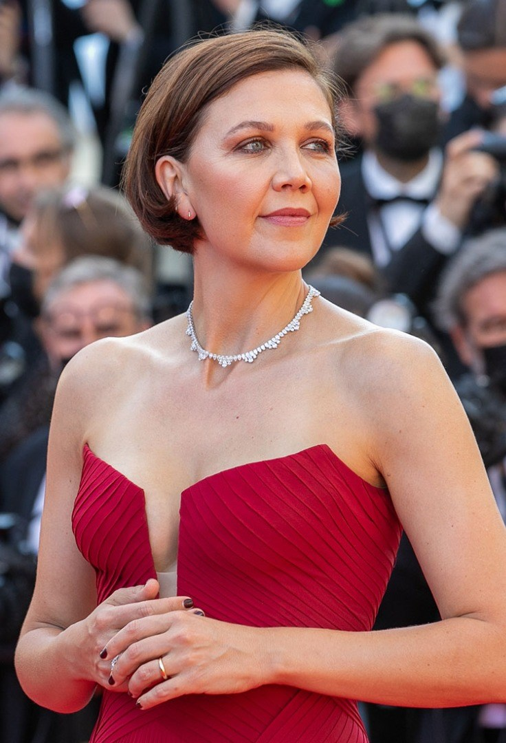 Maggie Gyllenhaal in a red dress