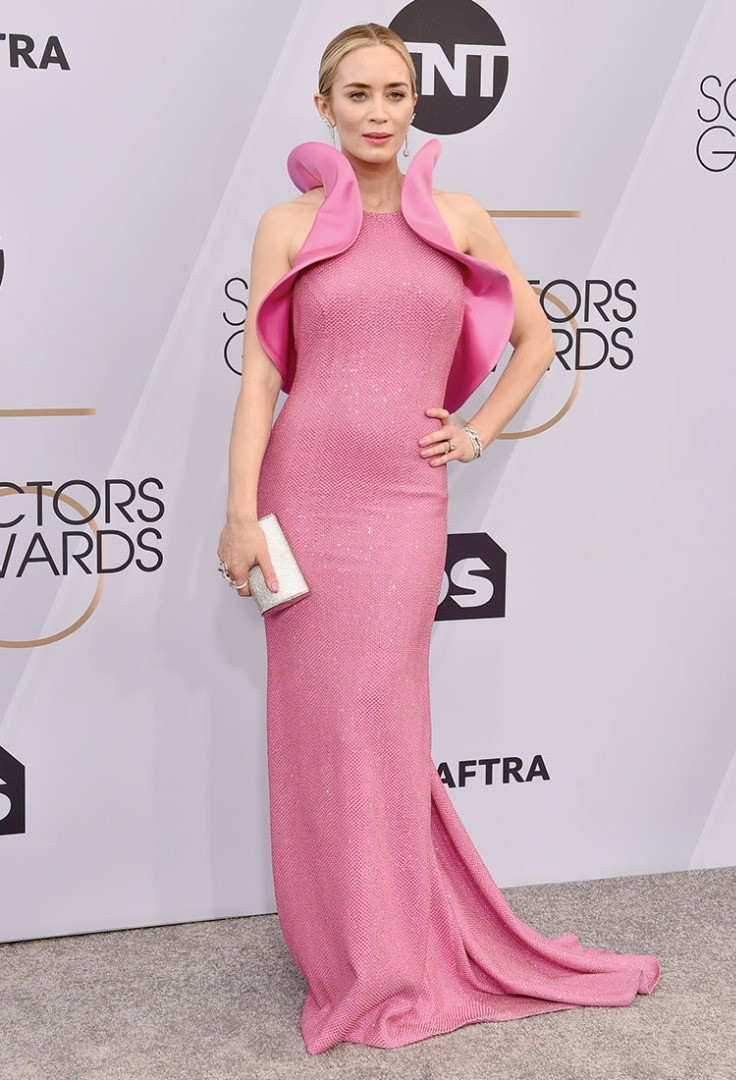 Emily Blunt in a pink dress