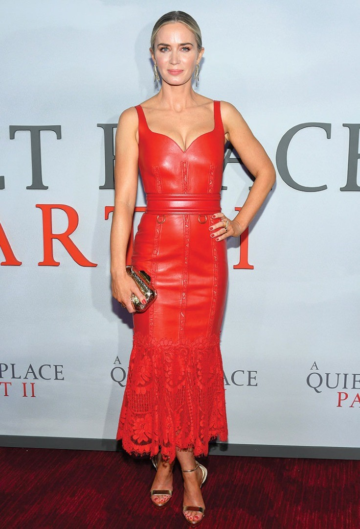 Emily Blunt in a red dress