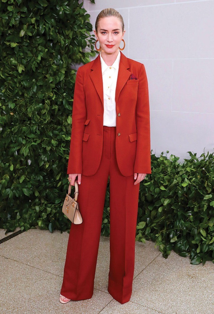 Emily Blunt in a red suit