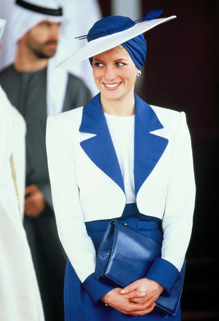 Diana, Princess of Wales in a blue dress