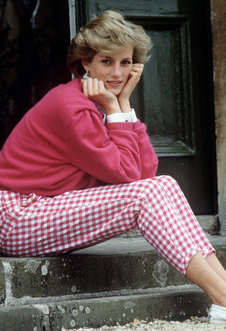 Diana, Princess of Wales sitting on a bench