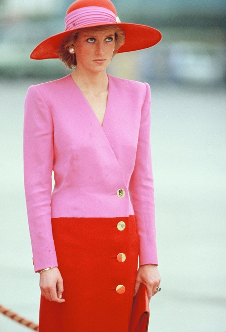 Diana, Princess of Wales wearing a pink suit and hat