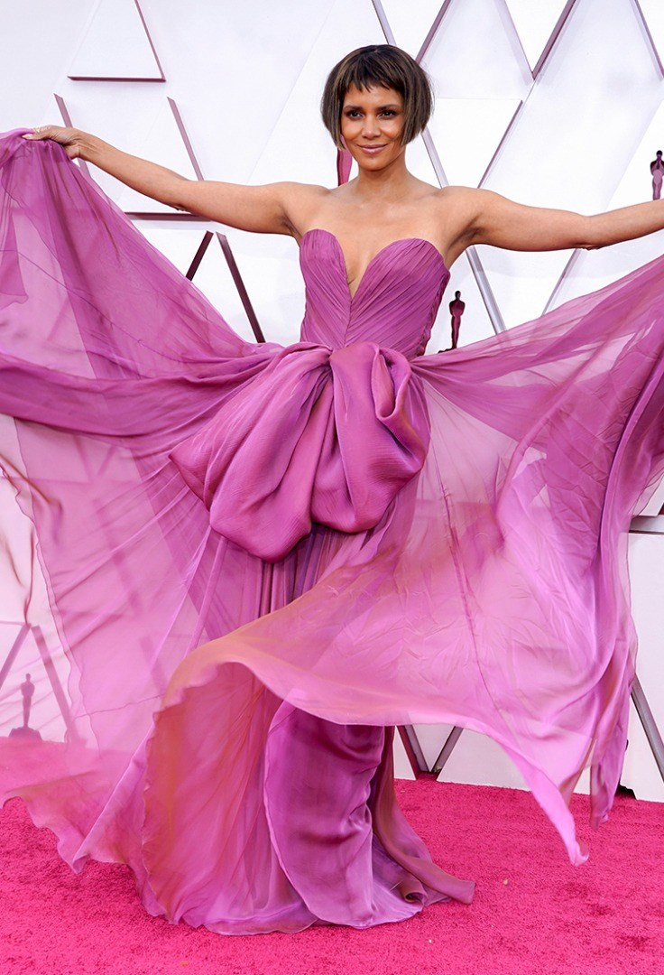 Halle Berry wearing a pink dress