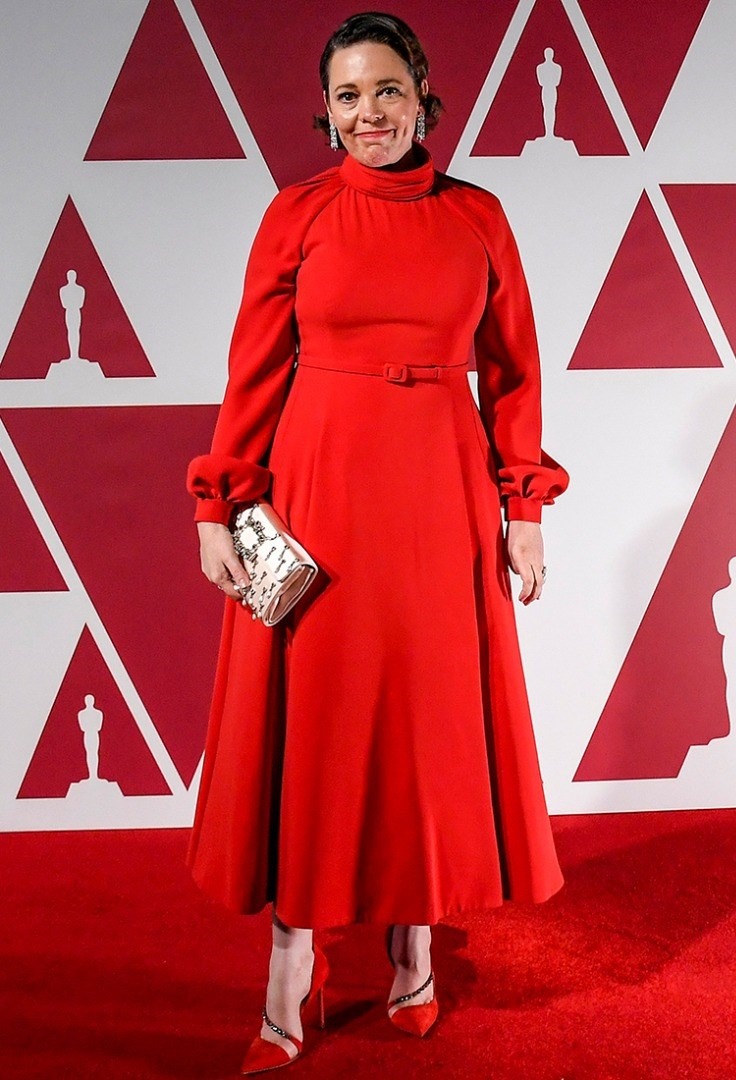 Olivia Colman in a red dress