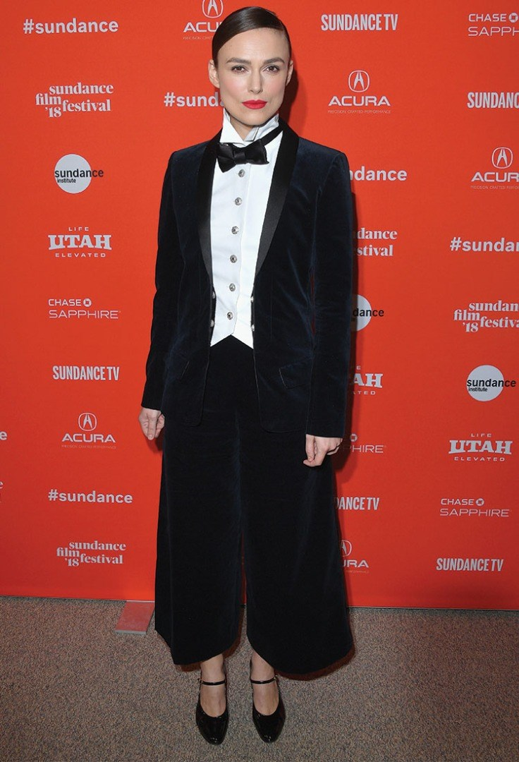 Keira Knightley in a black suit