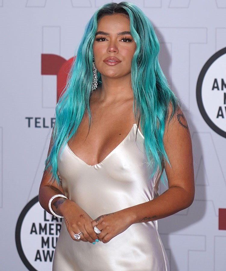 a woman with blue hair