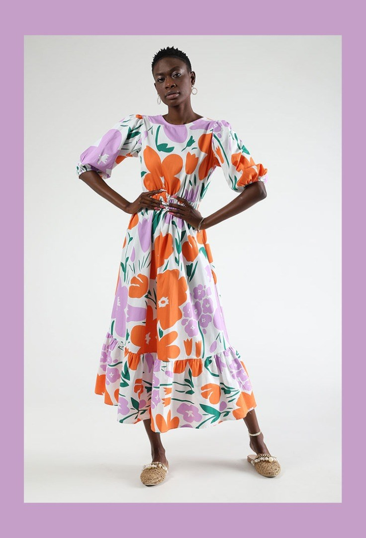 a person in a colorful dress