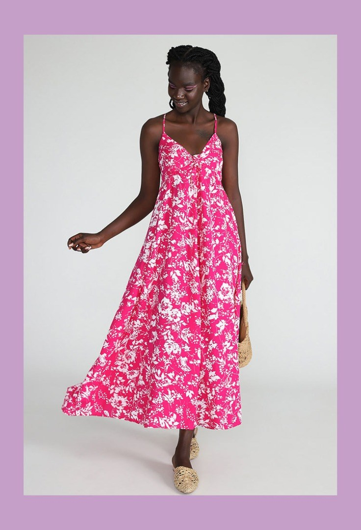a person in a pink dress