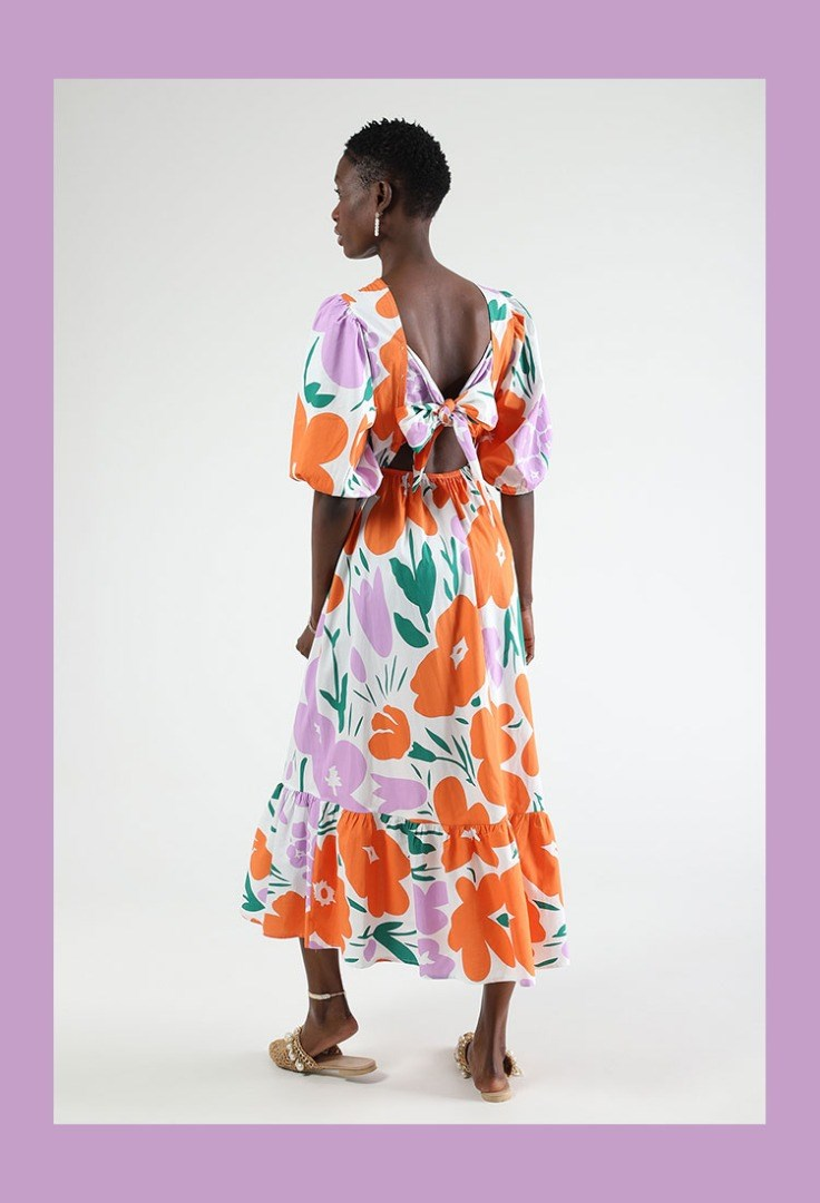 a person wearing a colorful dress