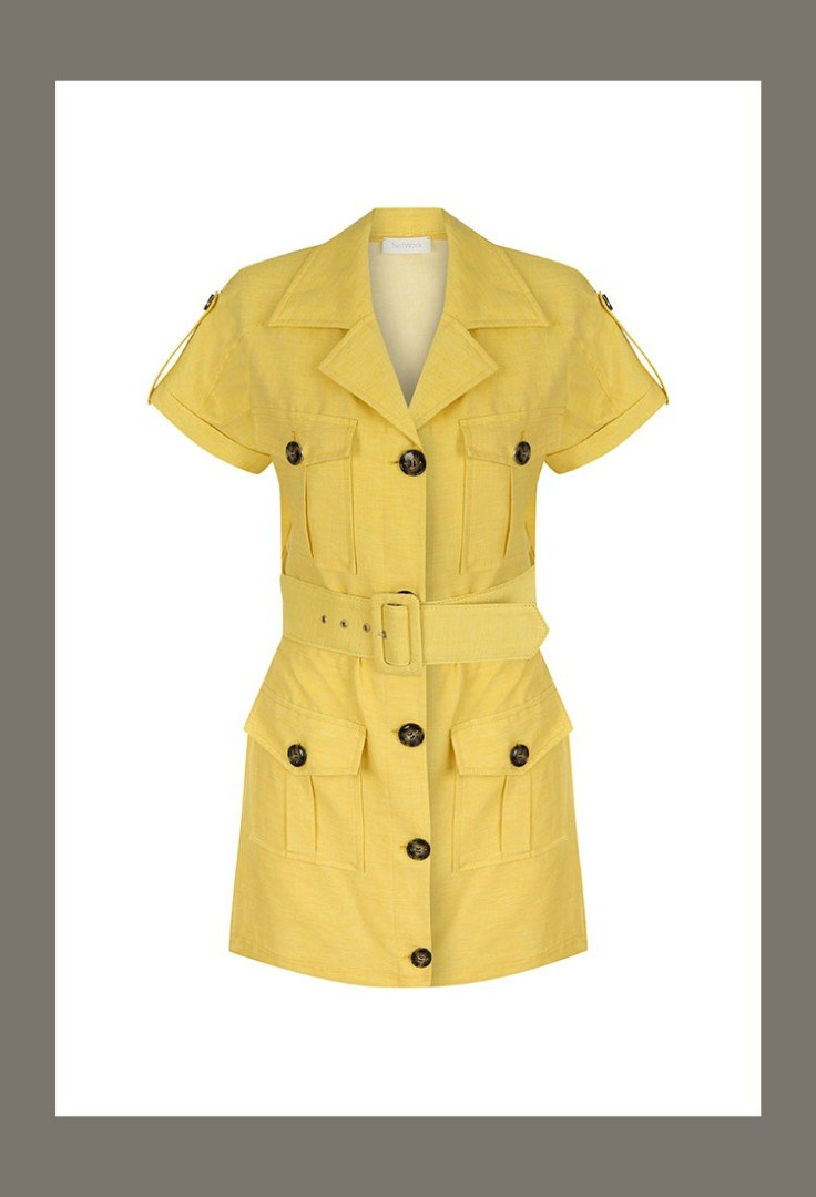 a yellow jacket with black buttons