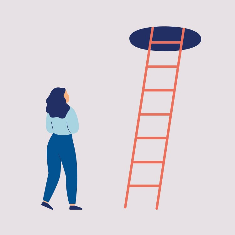 a person looking at a red ladder