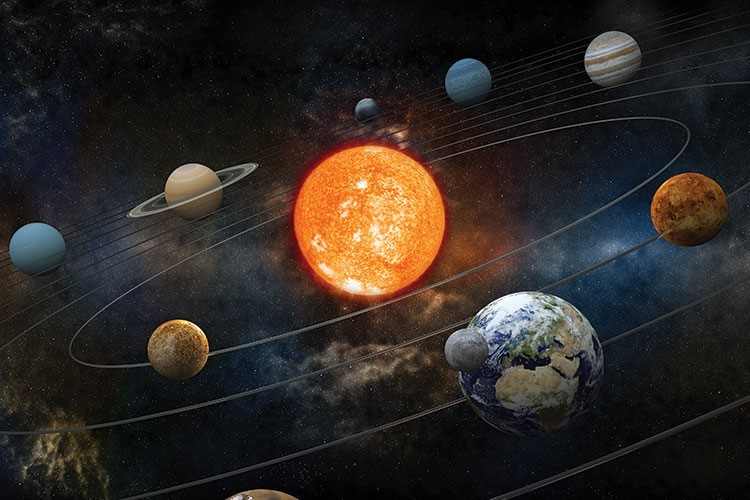 Planets and stars in space