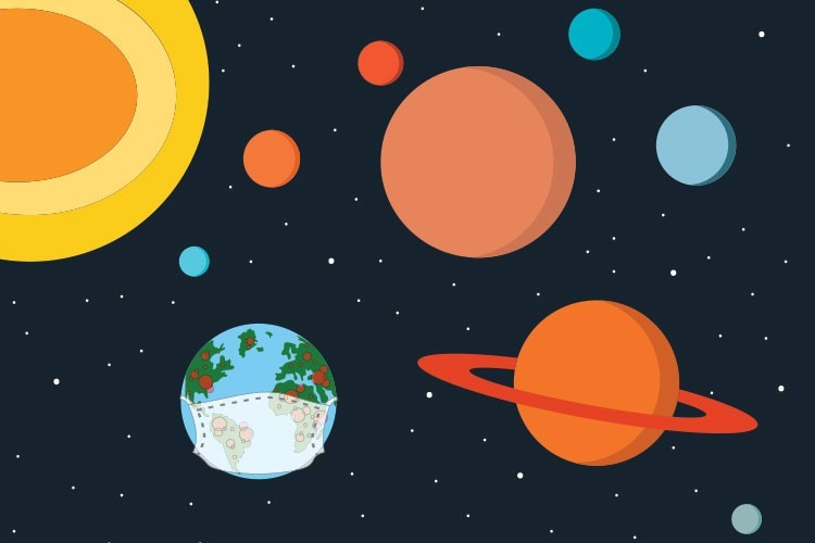 Planets and stars in space illustration drawing