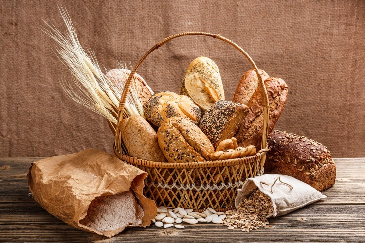 a basket of bread and bread
