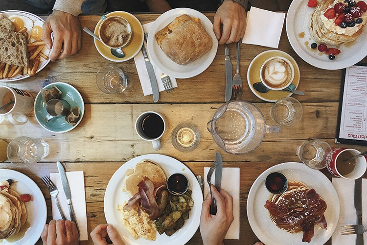 a table is filled with food