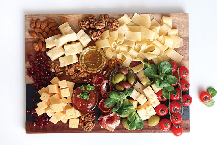 a board full of food