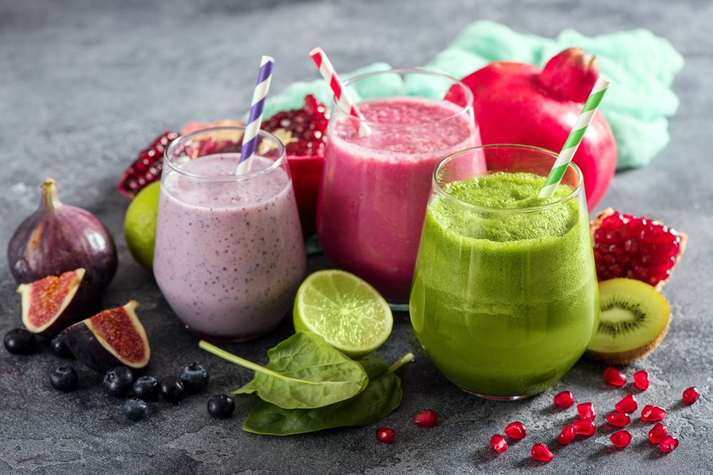 a group of colorful drinks