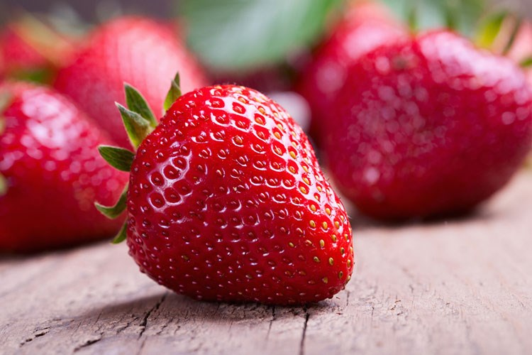 a group of strawberries