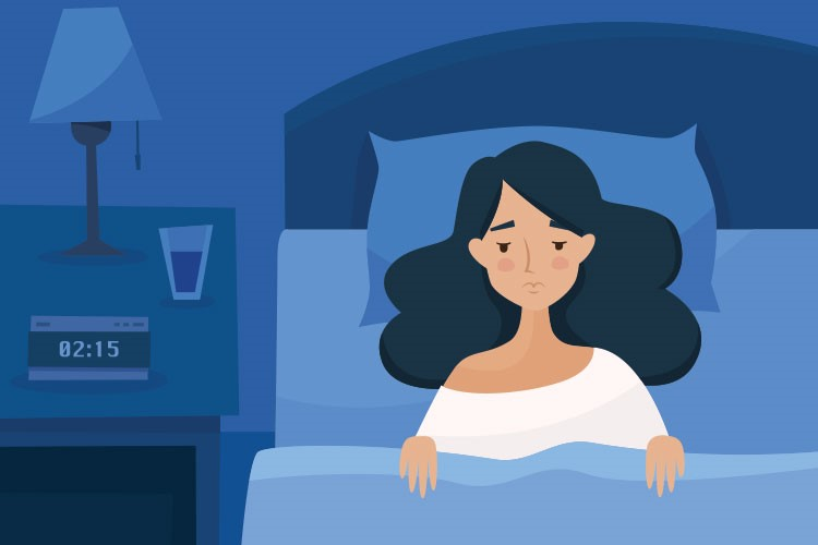 woman trying to sleep in bed drawn with illustration