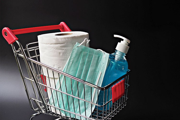 a shopping cart with a white bag