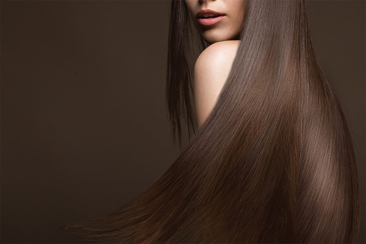 a woman with long hair