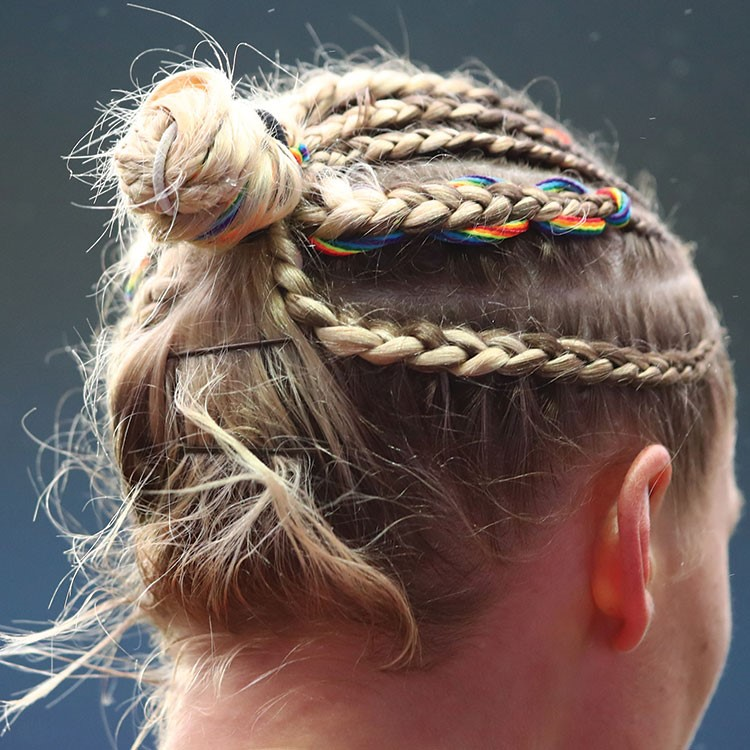a person with braids