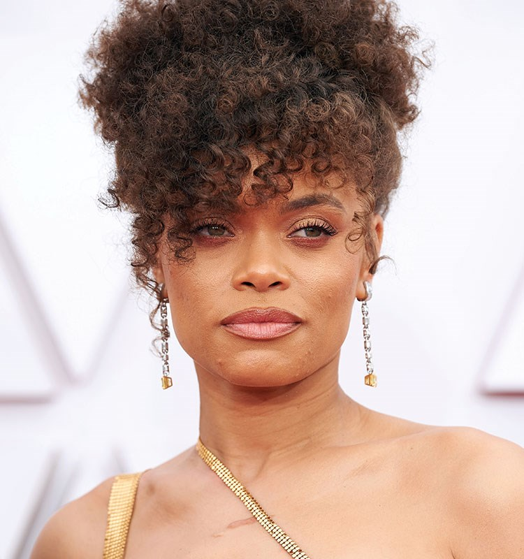 Andra Day with curly hair