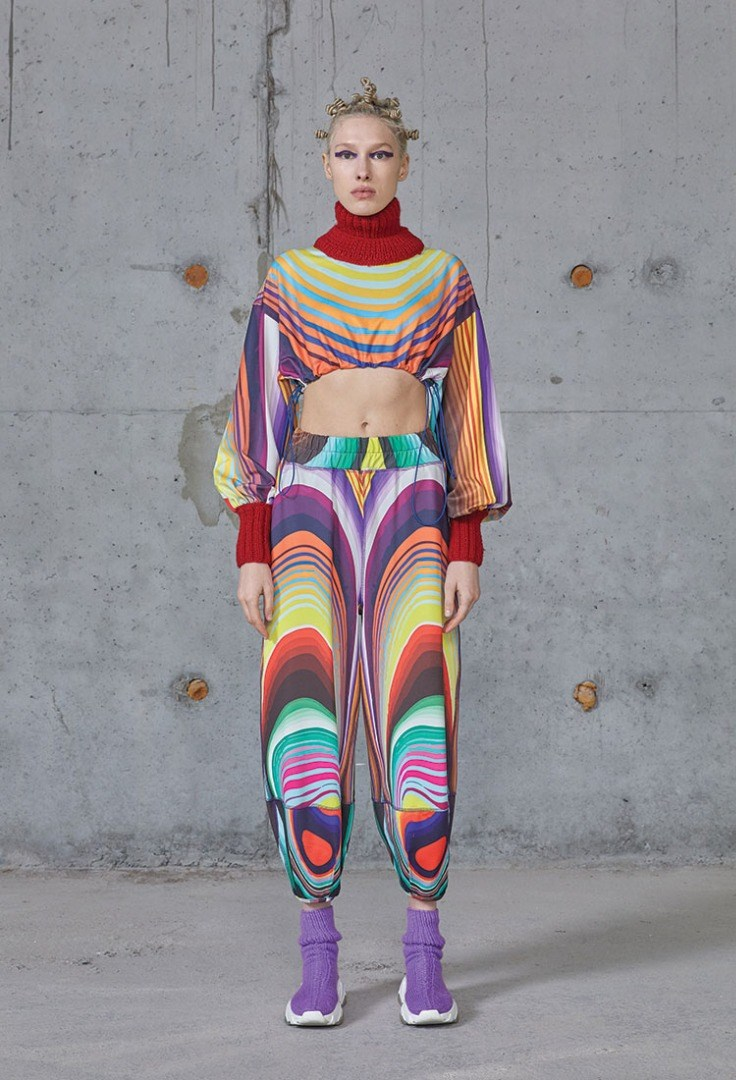 a person in a colorful outfit