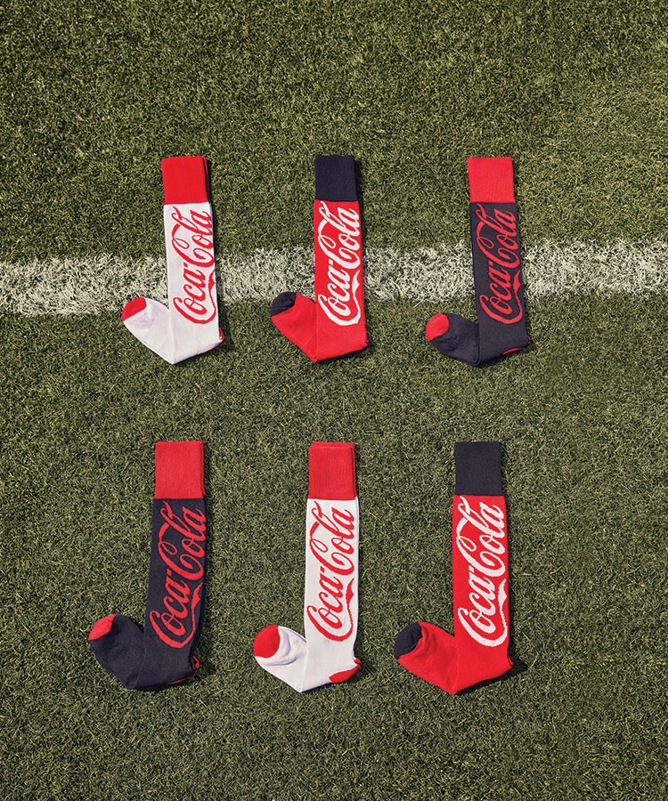 a group of red and white socks