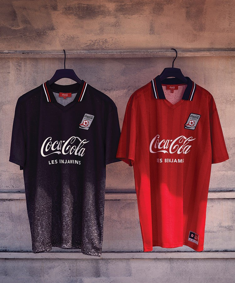 a pair of red and black shirts