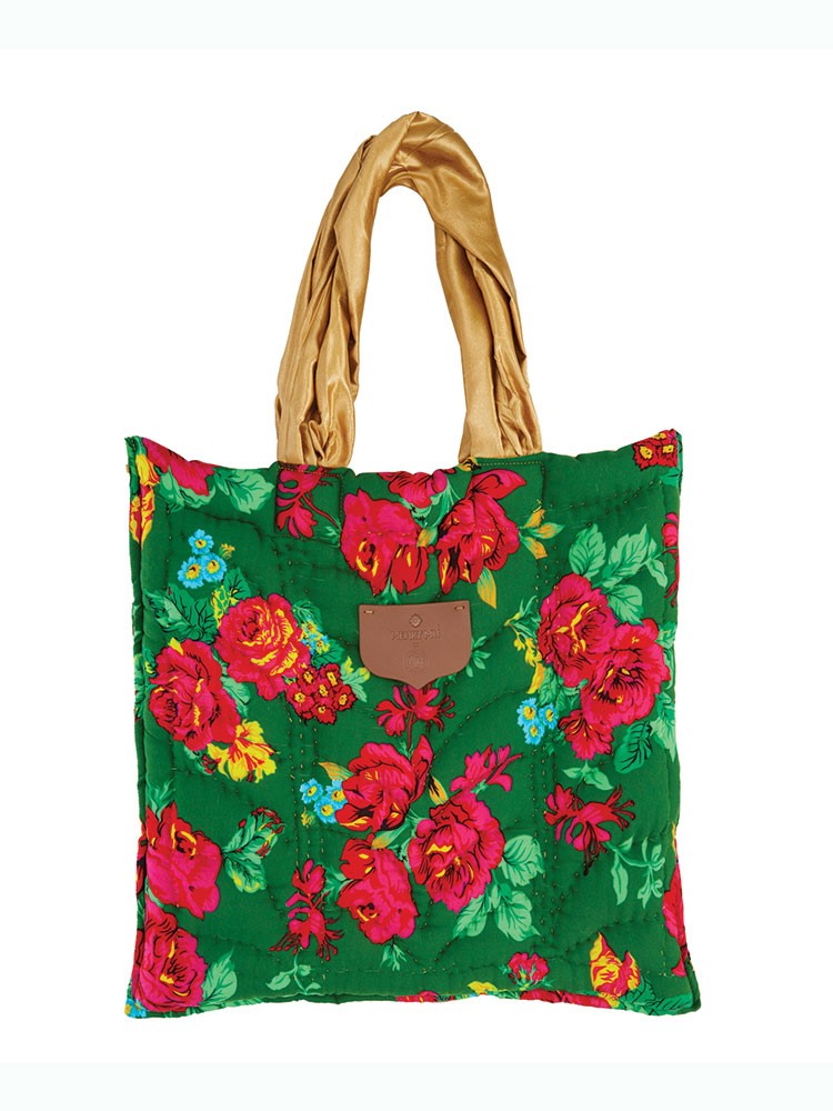 a colorful purse with flowers