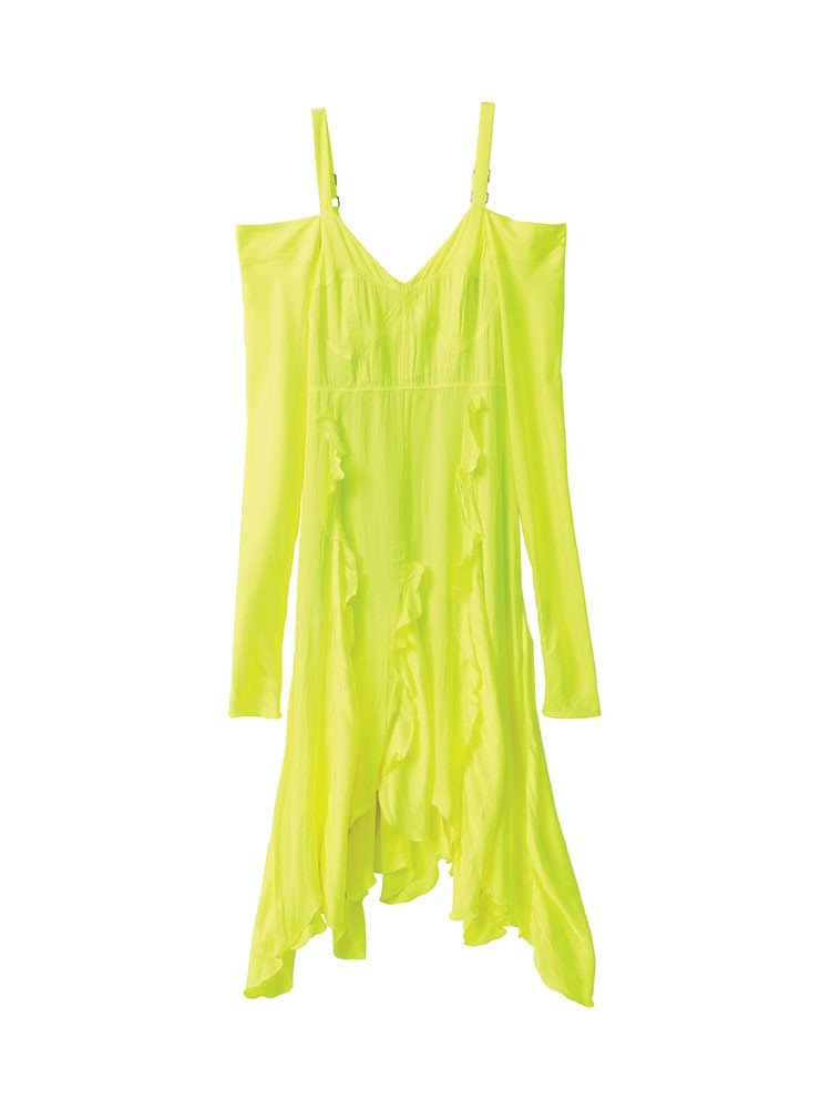 a green and yellow dress