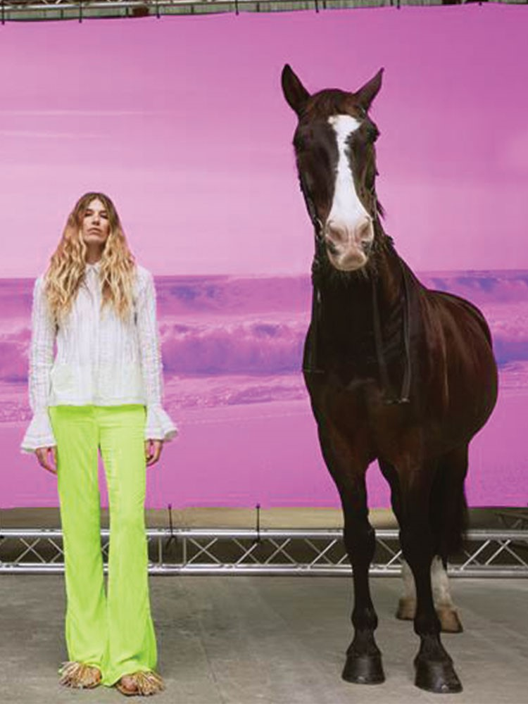a person standing next to a horse