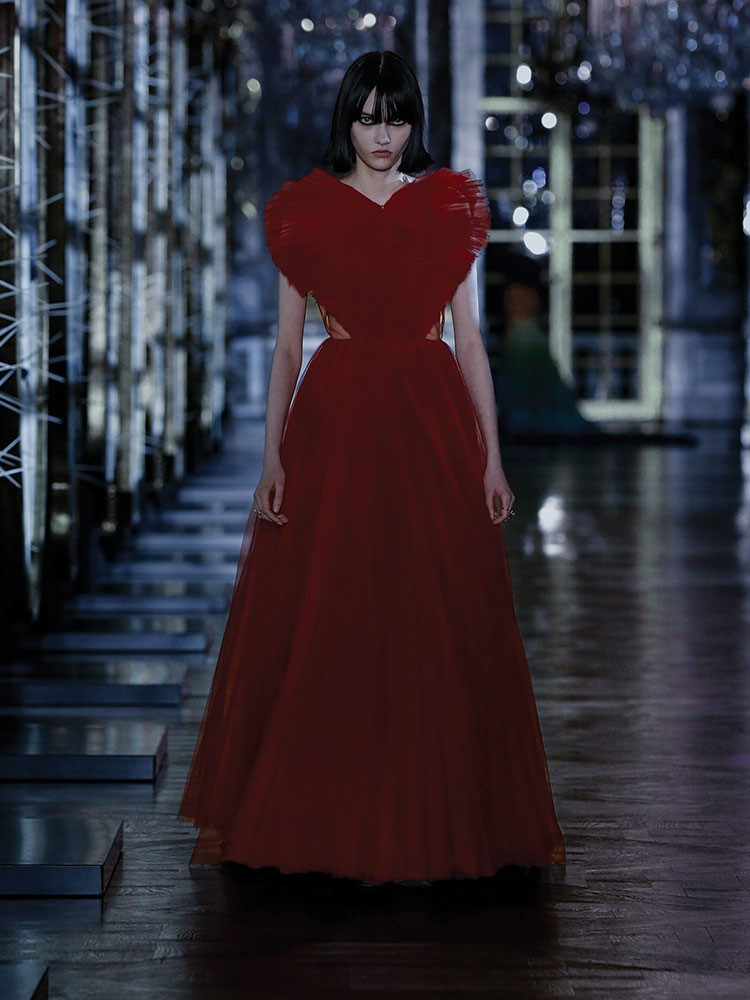 a person in a red dress