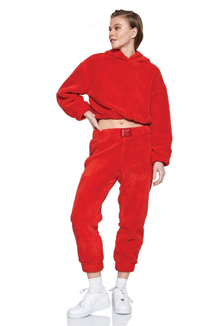 a person in a red jumpsuit