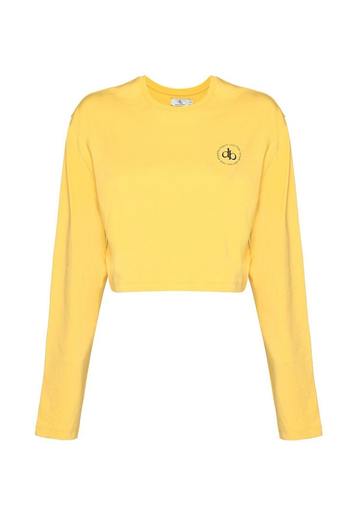 a yellow shirt with a logo