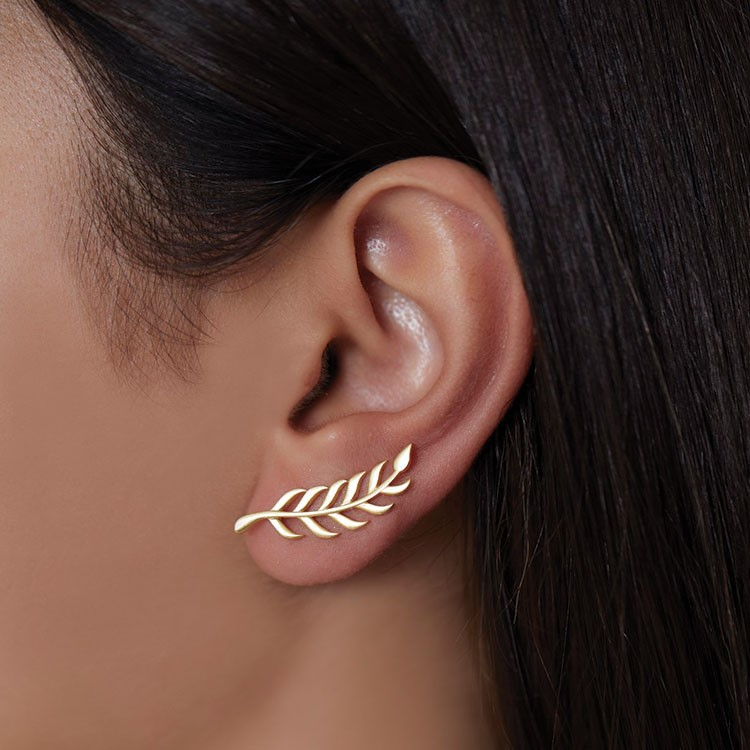 a woman's ear with a nose ring