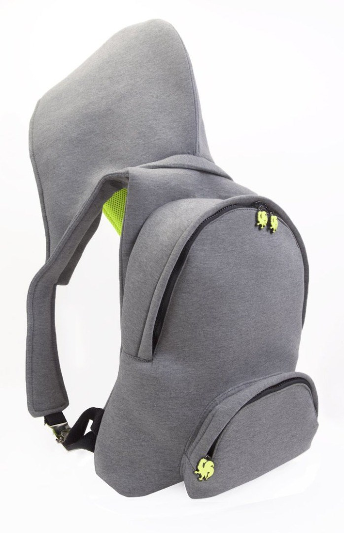 a black backpack with a green logo